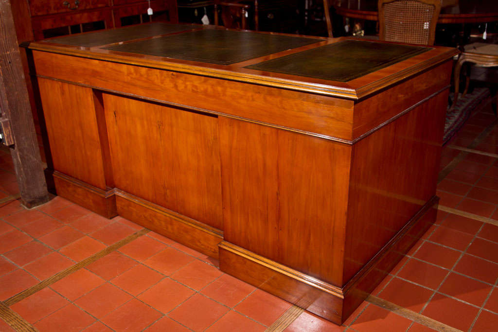 Custom English Yew Wood Modesty Panel Desk For Sale 3