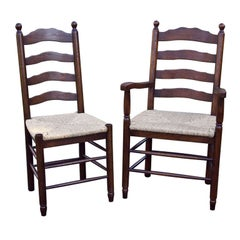 Custom Set of Eight English Bobble Top Ladder Back Chairs