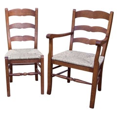 Custom Set of Eight French Style Ladder Back Chairs