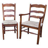 Set of Eight 'Two Arms, Six Sides', French Style Ladder Back Chairs