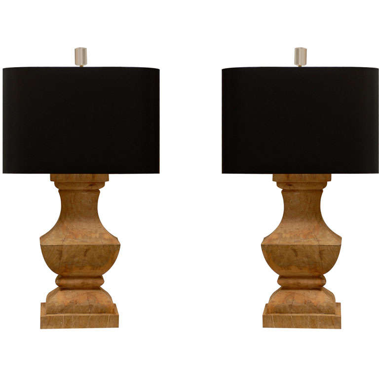 pair of reclaimed wood lamps at 1stdibs. Black Bedroom Furniture Sets. Home Design Ideas