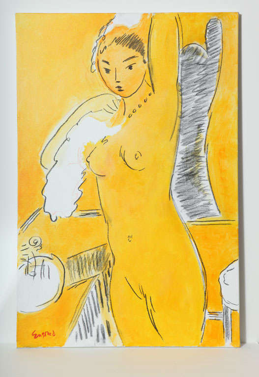 Nude painting by Wayne Ensrud, circa 1986. As the New York Times wrote; If you like the Impressionists, if you love the Fauves, then you're sure to adore Wayne Ensrud. Please contact us for more information of the artist. Painting has been framed