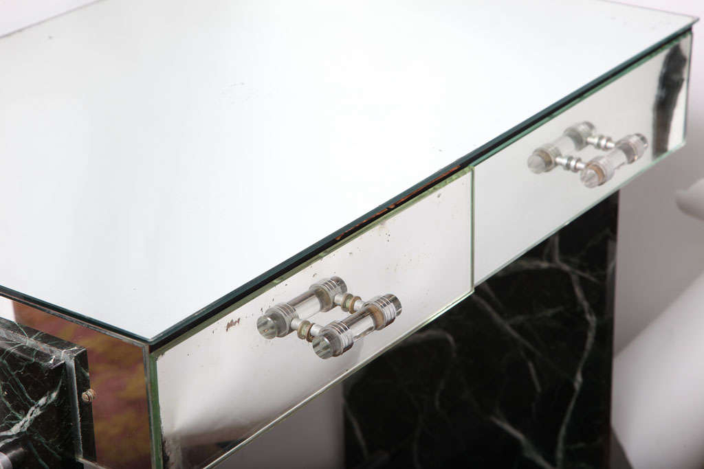 Art Deco Jacques Adnet Marble Chrome and Mirror Vanity/ Desk For Sale