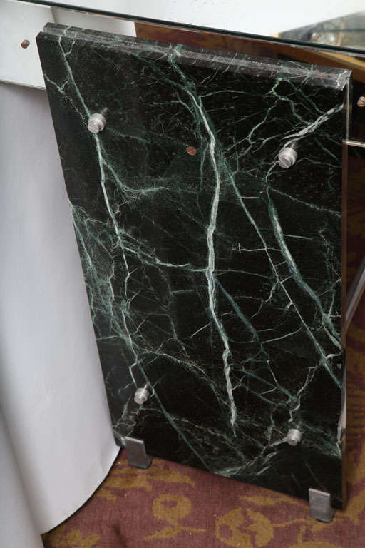 French Jacques Adnet Marble Chrome and Mirror Vanity/ Desk For Sale