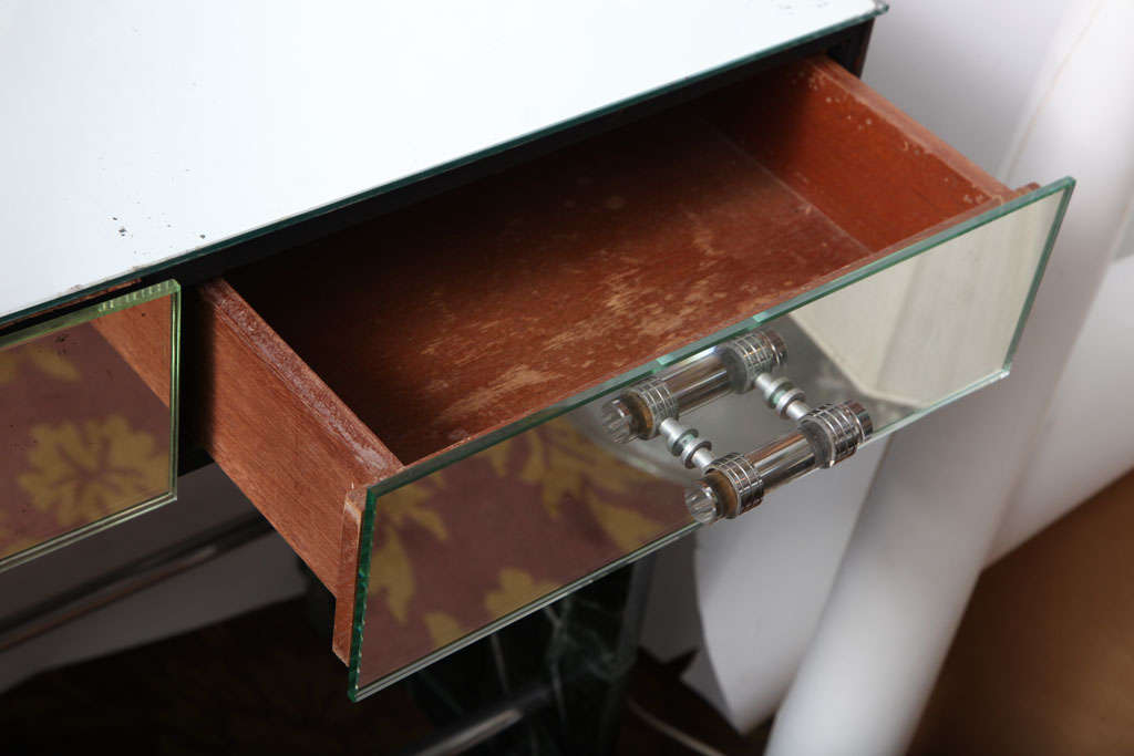 Steel Jacques Adnet Marble Chrome and Mirror Vanity/ Desk For Sale