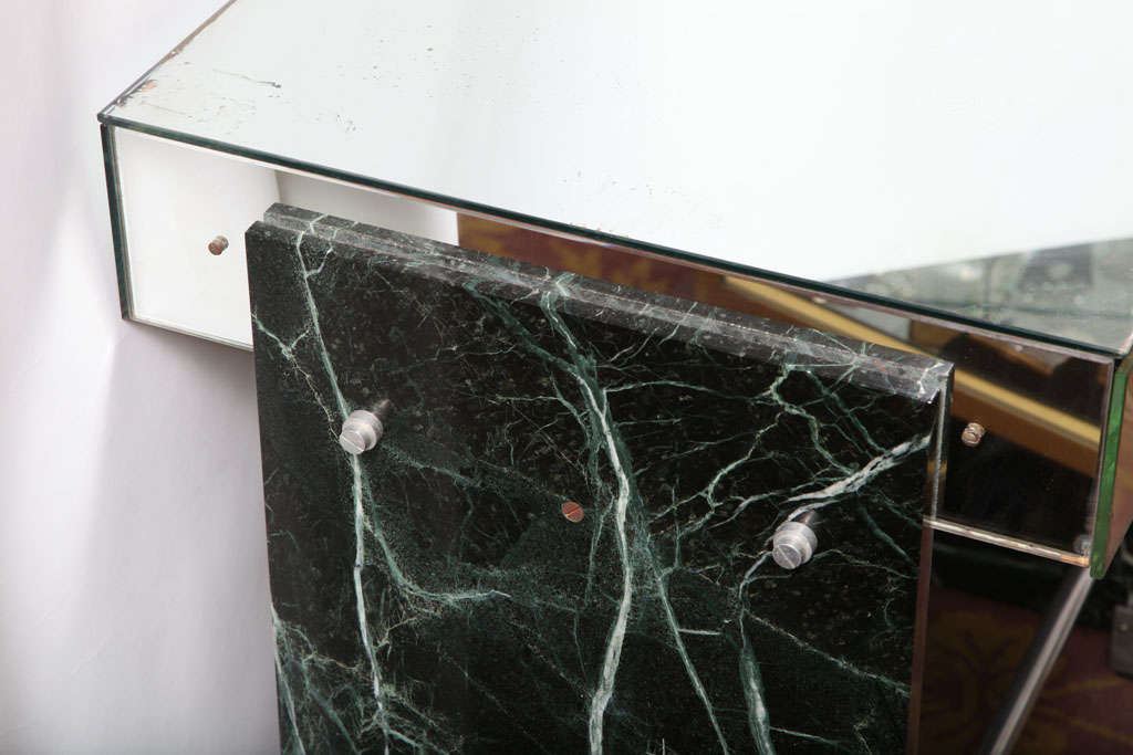 Jacques Adnet Marble Chrome and Mirror Vanity/ Desk For Sale 1