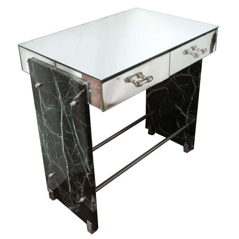 Jacques Adnet Marble Chrome and Mirror Vanity/ Desk For Sale
