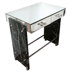 Jacques Adnet Marble Chrome and Mirror Vanity/ Desk