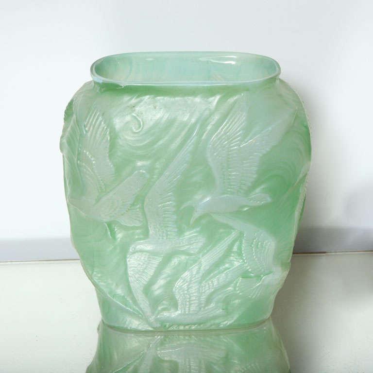 Green Phoenix Glass Bird Vase At 1stdibs