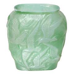 Green Phoenix Glass bird vase