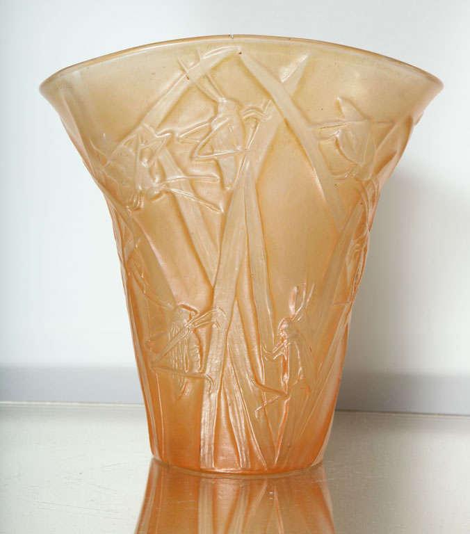 American Amber Phoenix Grasshopper Vase For Sale