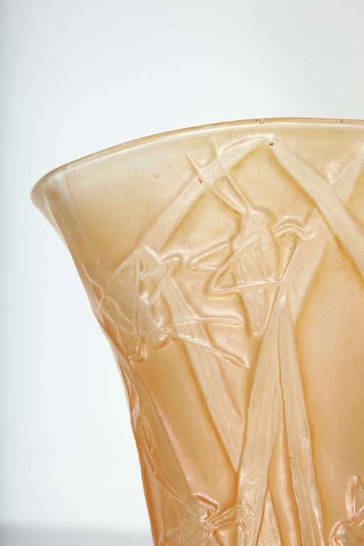 Cast Amber Phoenix Grasshopper Vase For Sale