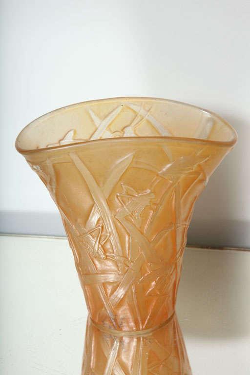 Glass Amber Phoenix Grasshopper Vase For Sale