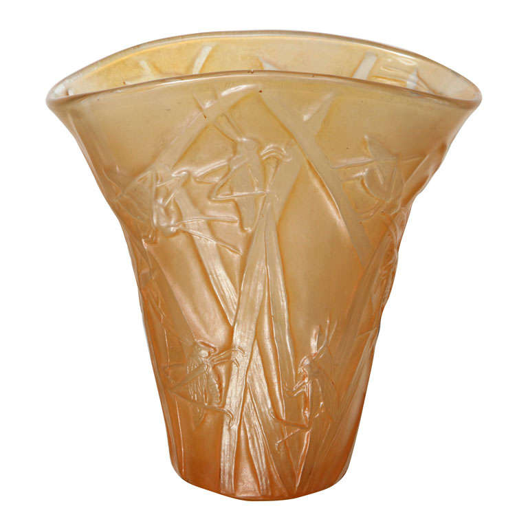 Amber Phoenix Grasshopper Vase For Sale