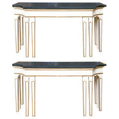 Fine Pair of Concave Side Stone Top Console Tables
