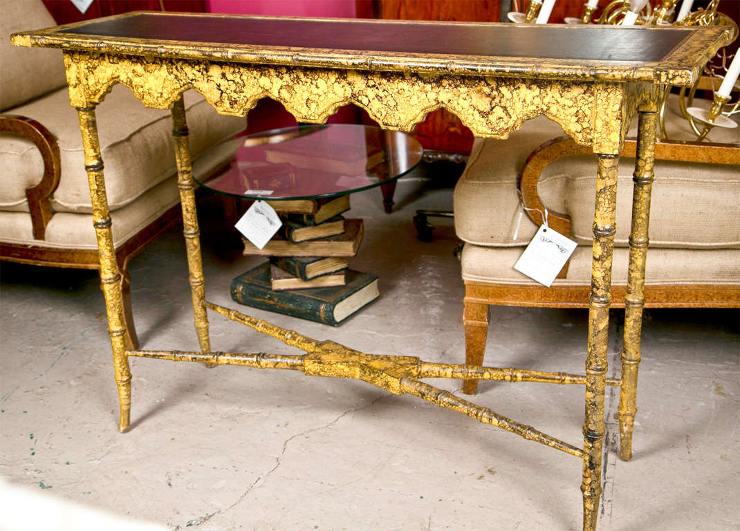 Faux Bamboo Tortoise Painted Console Table At 1stdibs