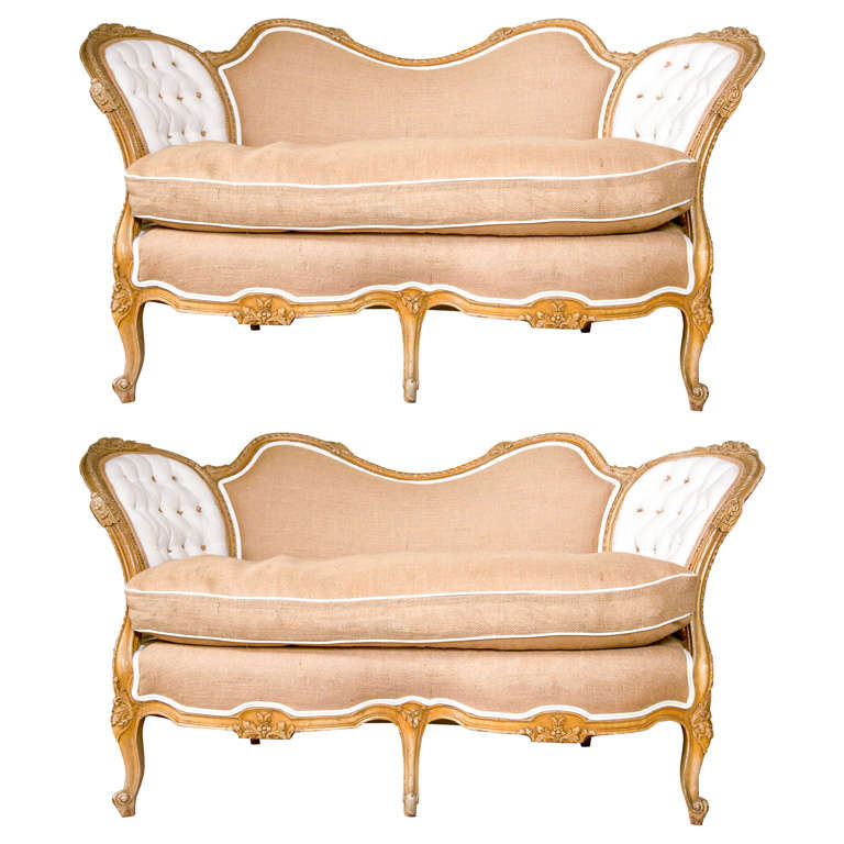Pair of Carved Louis XV Style Canape Settees White Tufted And Burlap Upholstery