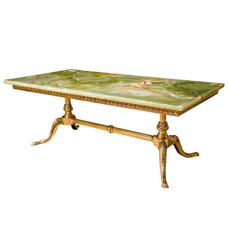 Onyx Coffee Table 50s Italian Green Onyx Coffee Table At 1stdibs Gilt Brass Coffee Table With