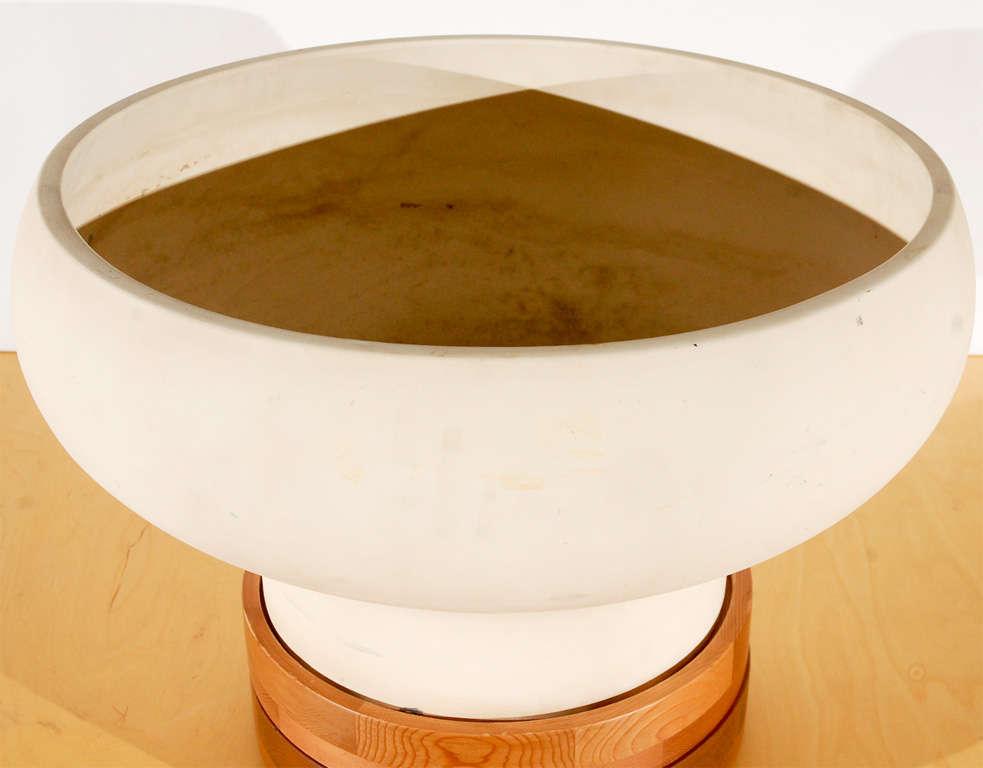 John Follis model #F7 bisque unglazed architectural pottery with walnut base.