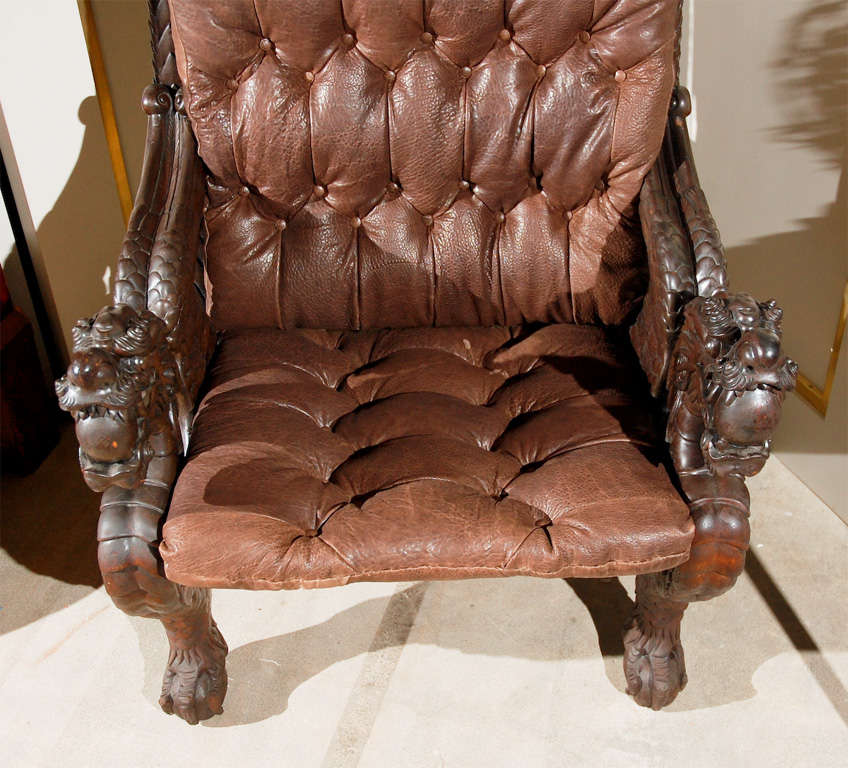 Chinese Carved Dragon Armchair For Sale at 1stdibs