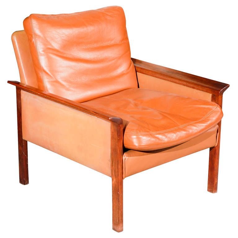 Hans Olsen Rosewood and Leather Armchair