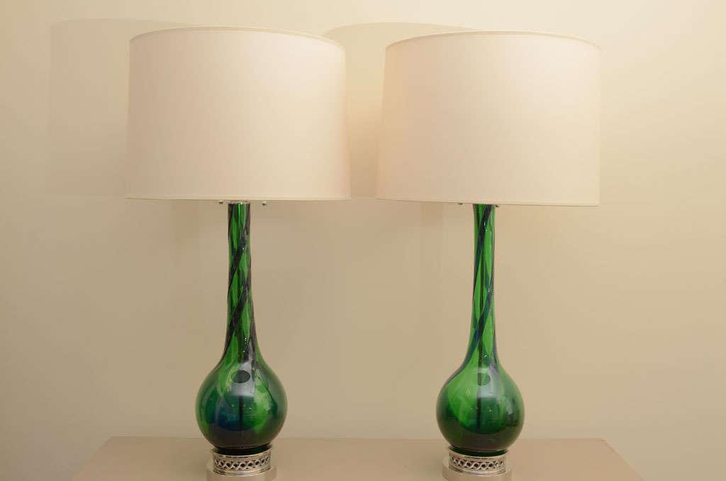 Large Pair of Emerald Green Murano Lamps 2