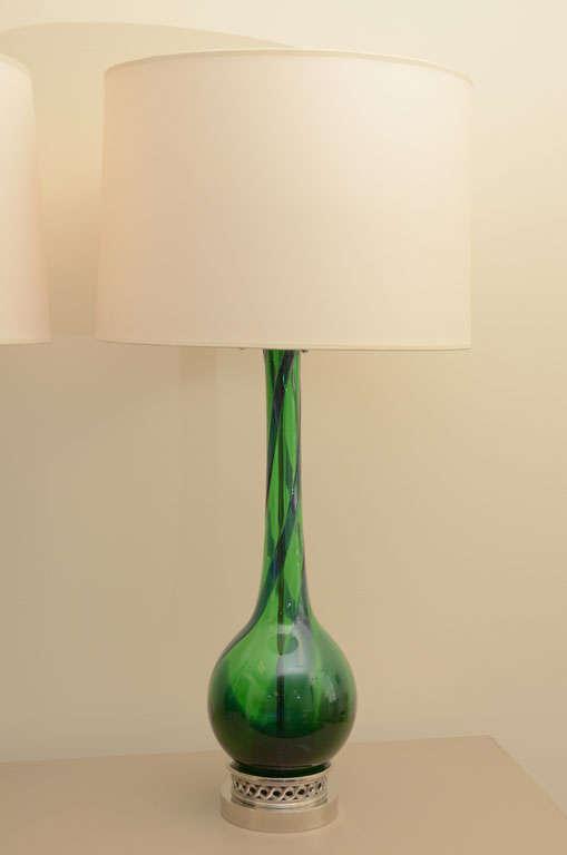 Large Pair of Emerald Green Murano Lamps 3