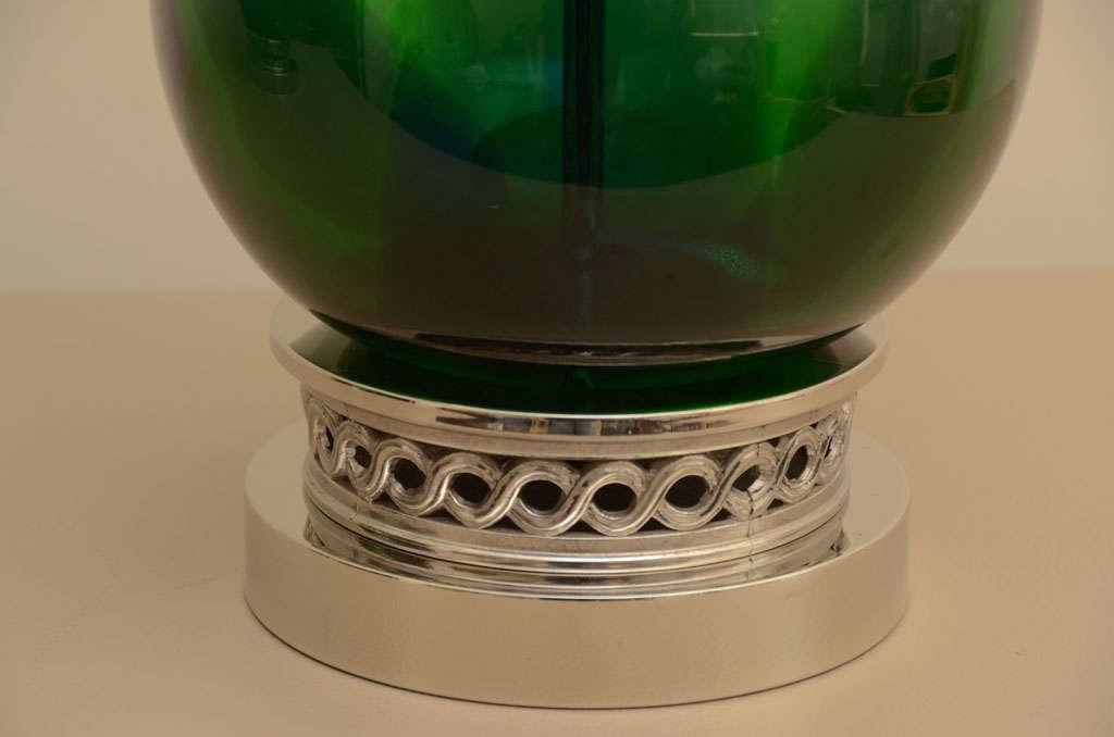 Large Pair of Emerald Green Murano Lamps 5