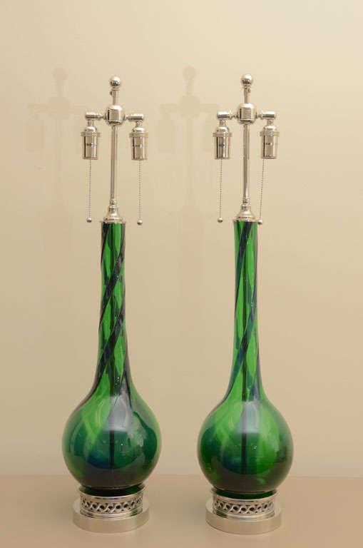 Large Pair of Emerald Green Murano Lamps 9