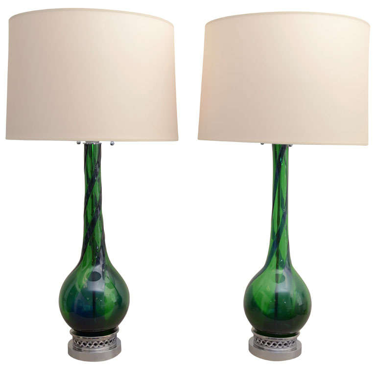 Large Pair of Emerald Green Murano Lamps