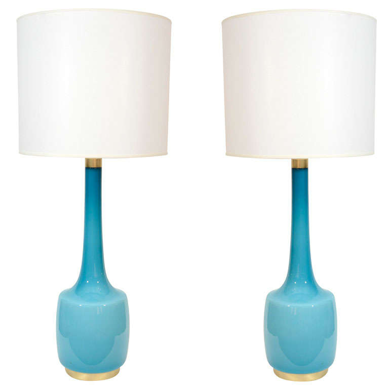 Perfect Pair Of Sky Blue Glass Lamps By Holmegaard For Sale
