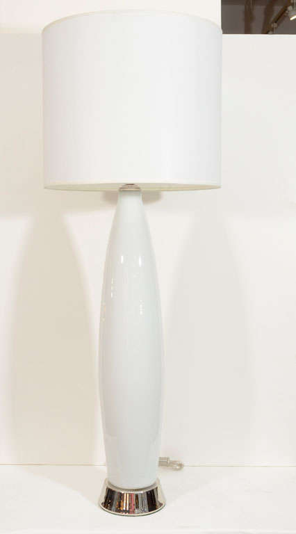 Pair of White Murano Glass Lamps on Polished NIckel Base 2