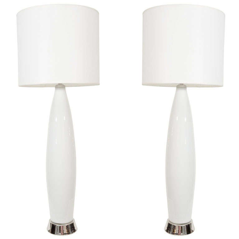 Pair of White Murano Glass Lamps on Polished NIckel Base 1