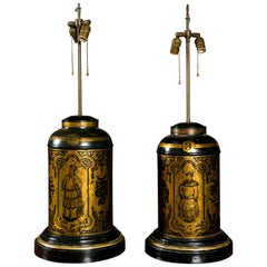 Pair of Oriental Tea Canister Lamps