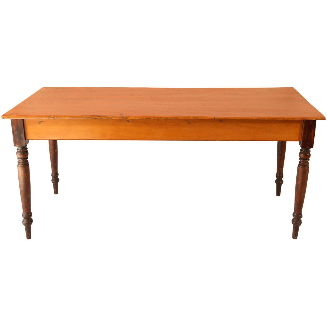Vintage two tone pine farm table at 1stdibs for 2 tone dining room tables