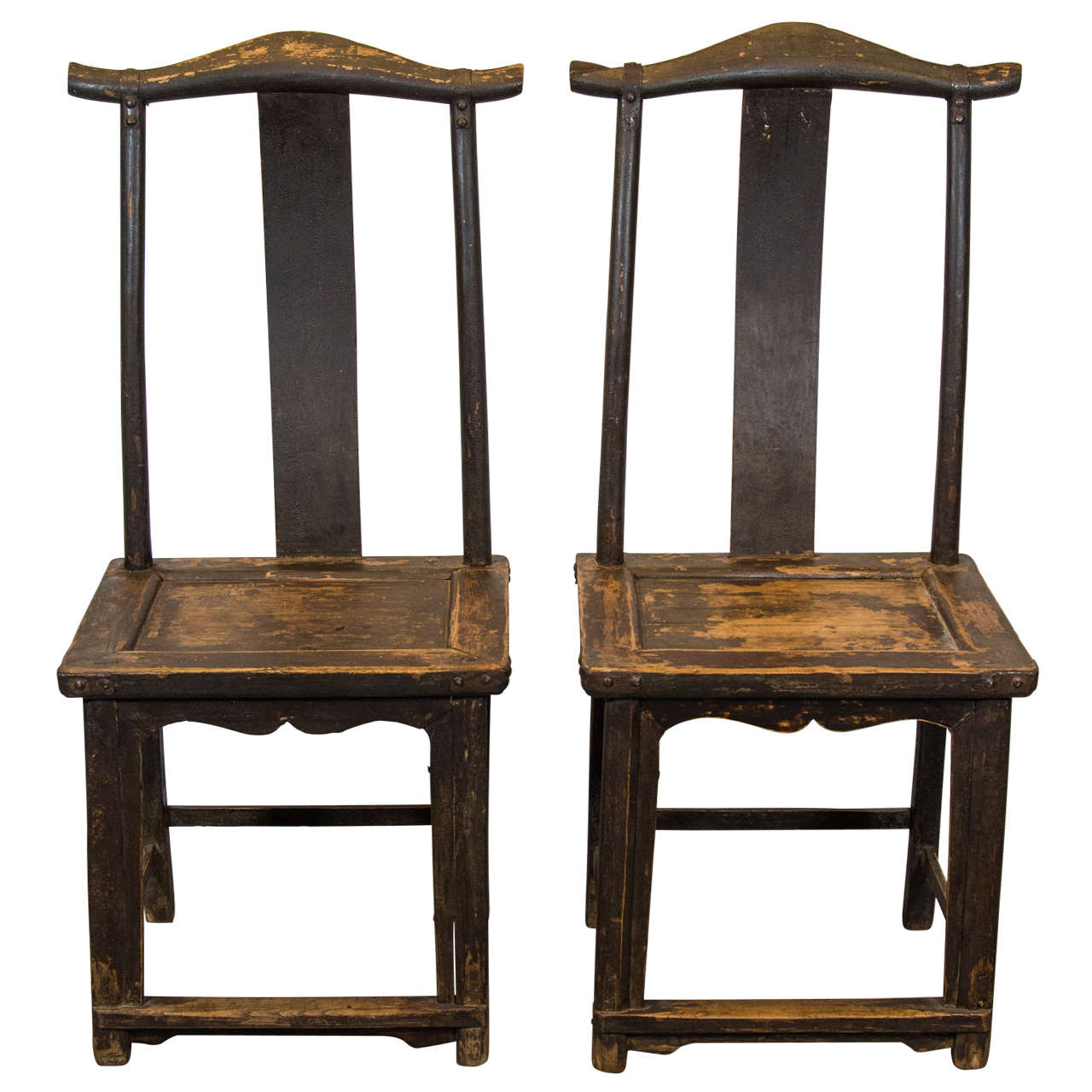 Pair of 19th Century Chinese Official's Hat Chairs with Original Iron Decoration