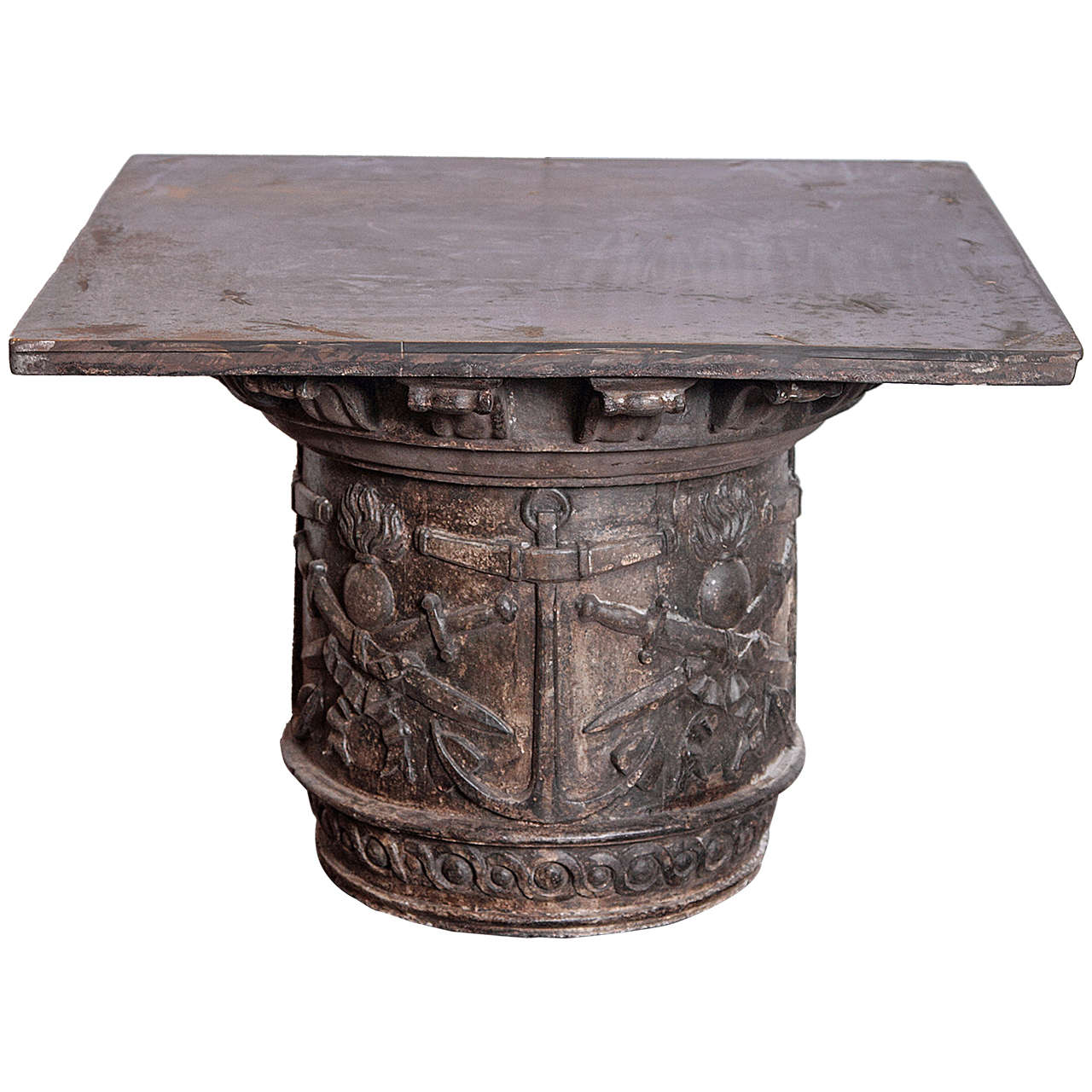 Antique naval cast iron end table at 1stdibs for Cast iron end table