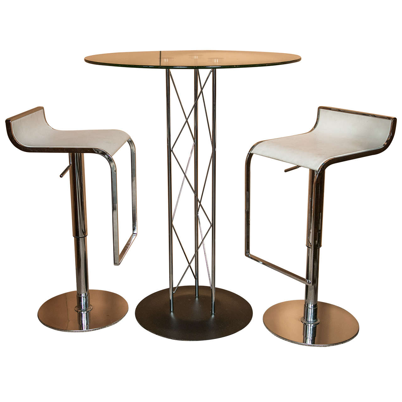 Unique Bar Table With Pair Of Leather Stools At 1stdibs