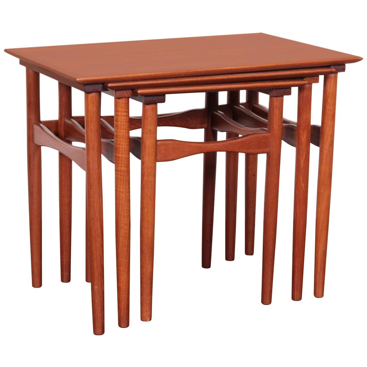 Set Of Mid-Century Danish Teak Nesting Tables By Fabian At