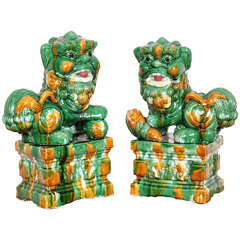 Antique Pair of Chinese Porcelain Sancai Foo Dogs