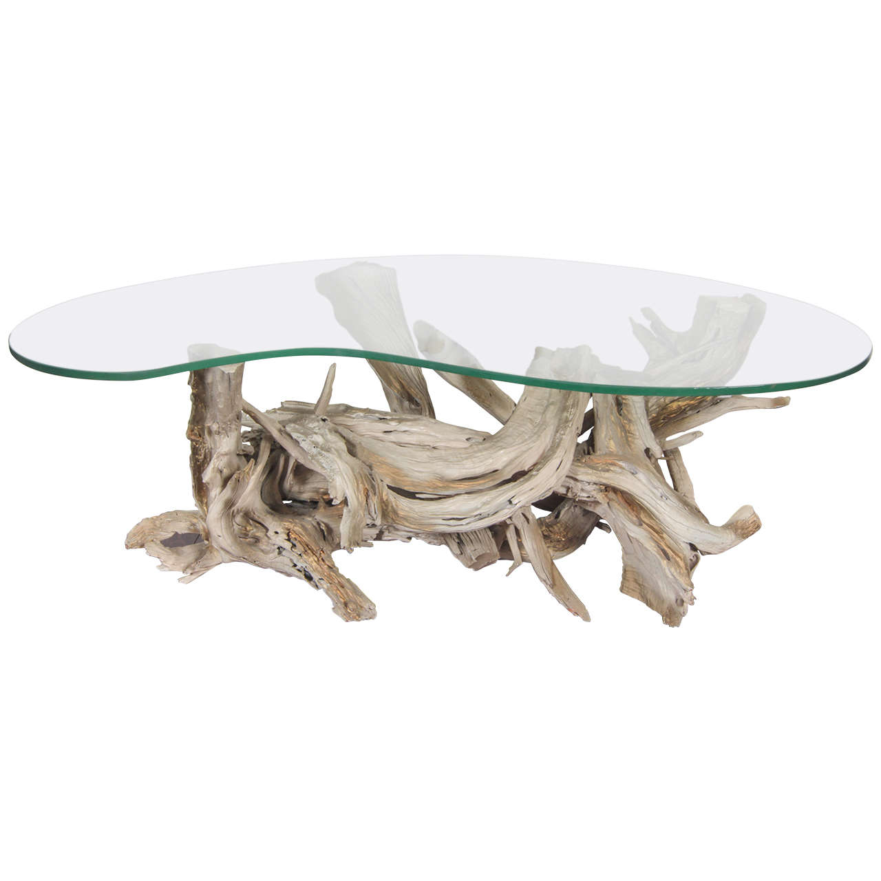 mid century sculptural glass and driftwood coffee table at. Black Bedroom Furniture Sets. Home Design Ideas