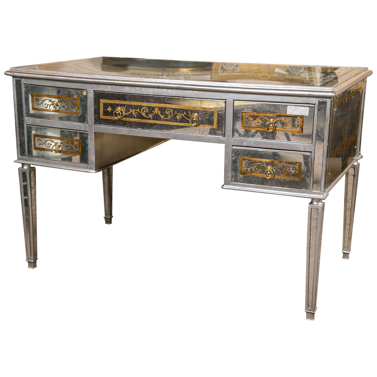 desk sentinel mirrored silver itm console hall table foxhunter furniture glass bedroom x