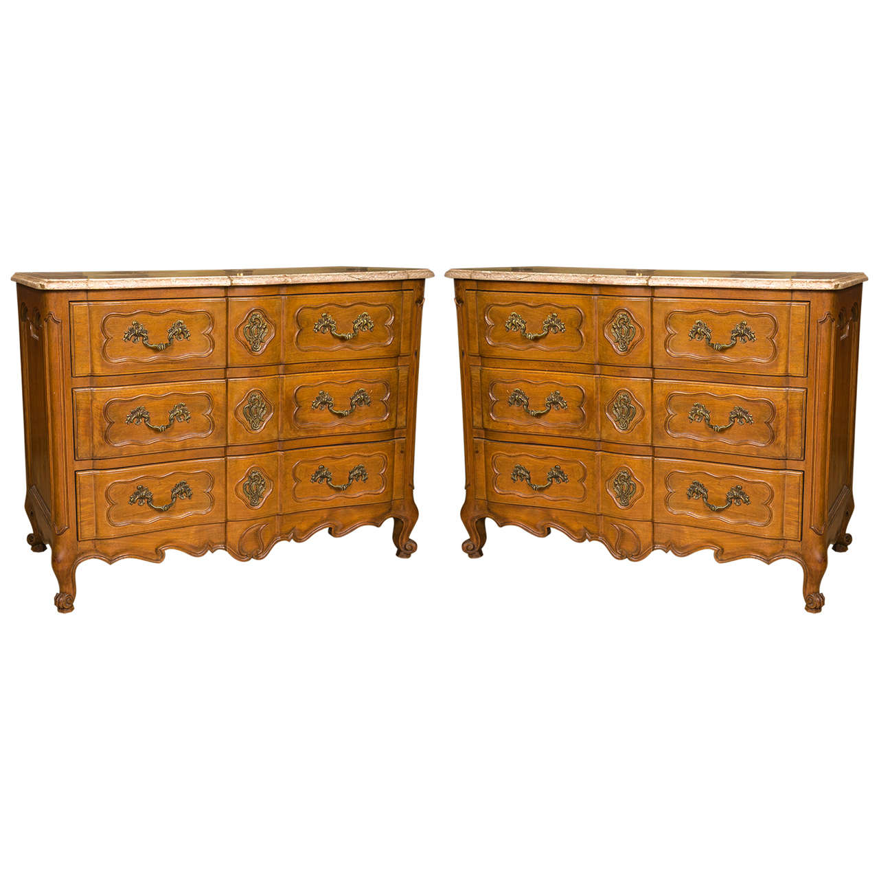 pair of marble top louis xv style commodes attributed to maison jansen for sale at 1stdibs. Black Bedroom Furniture Sets. Home Design Ideas
