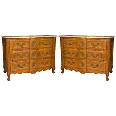 Pair of Marble-Top Louis XV Style Commodes Chests Attributed to Maison Jansen