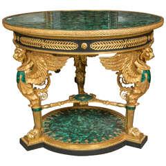 Fine Doré Bronze and Malachite Green Russian Figural Center Table