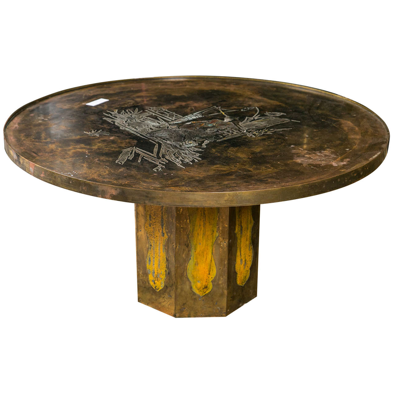 Philip And Kelvin LaVerne Chan Coffee Table Patinated Enameled Bronze And Pewter