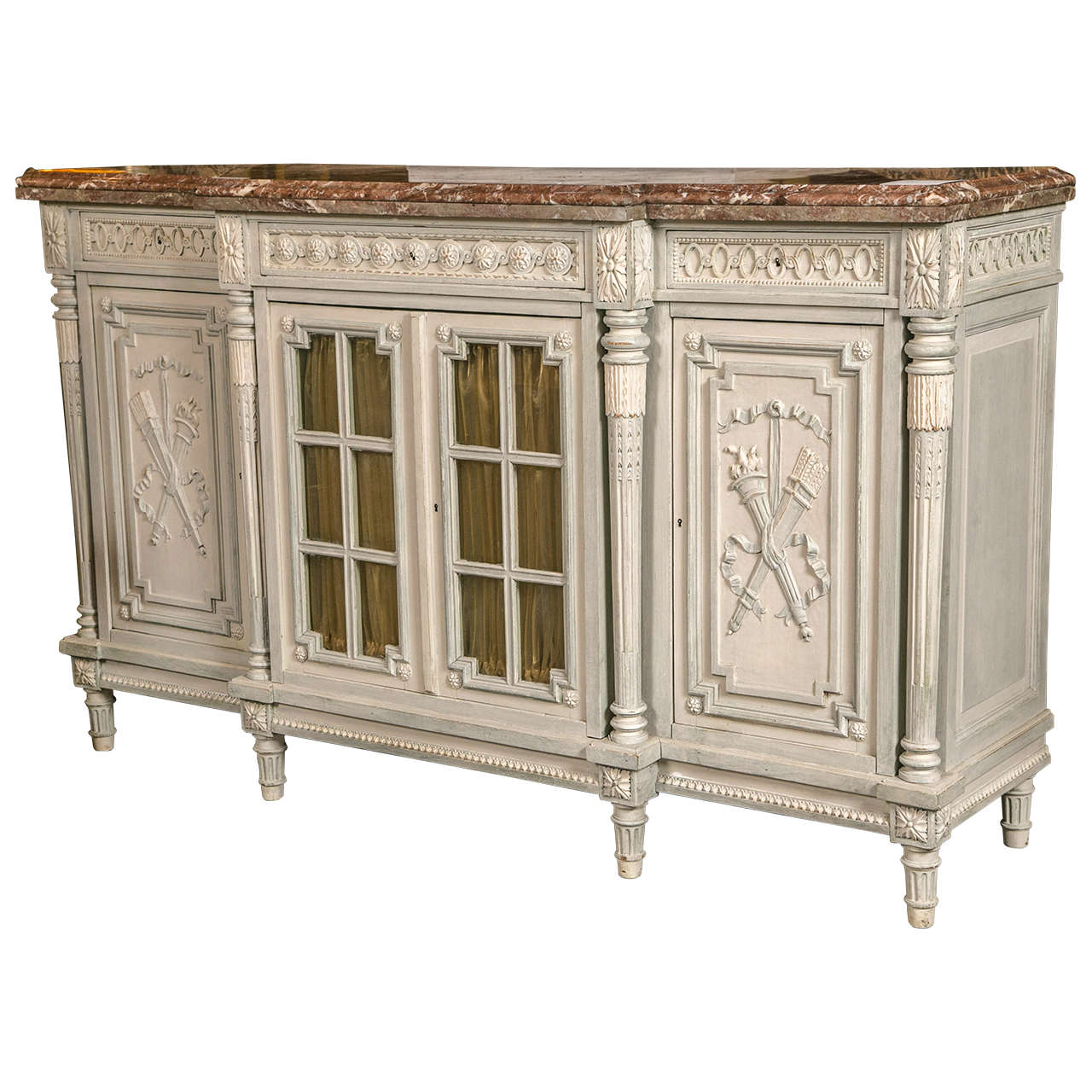 Marble Top Buffet ~ Th century french paint decorated marble top sideboard