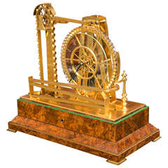 Gilt Brass Waterwheel Timepiece by Peter Bonnert