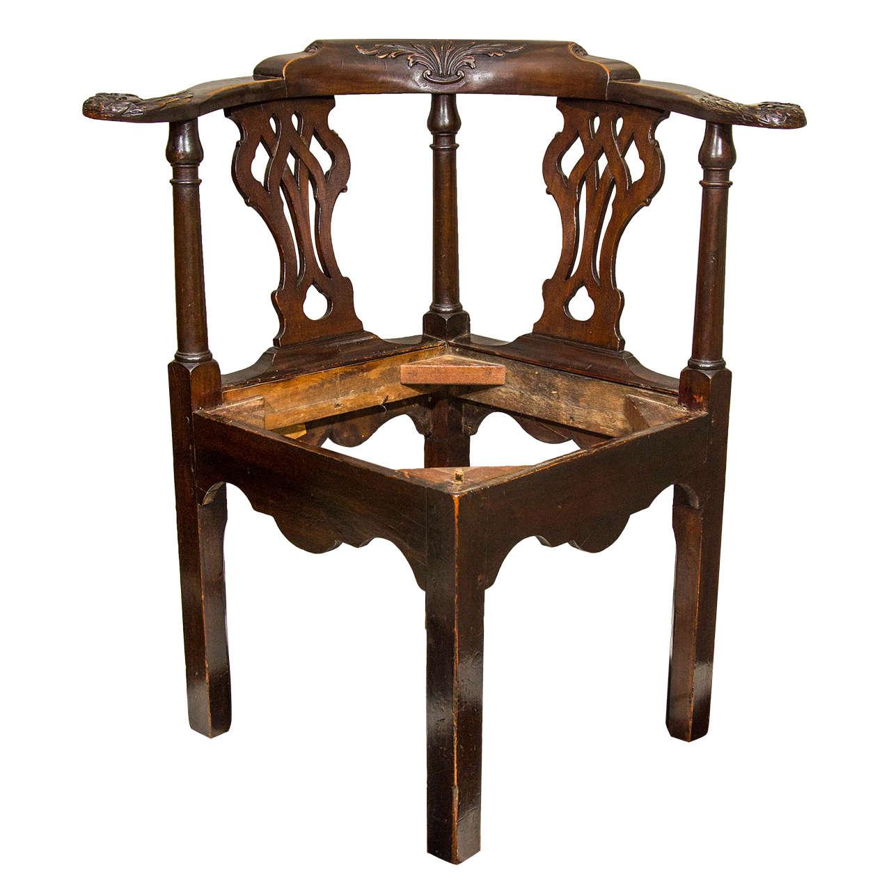 18th Century Irish Corner Chair For Sale At 1stdibs