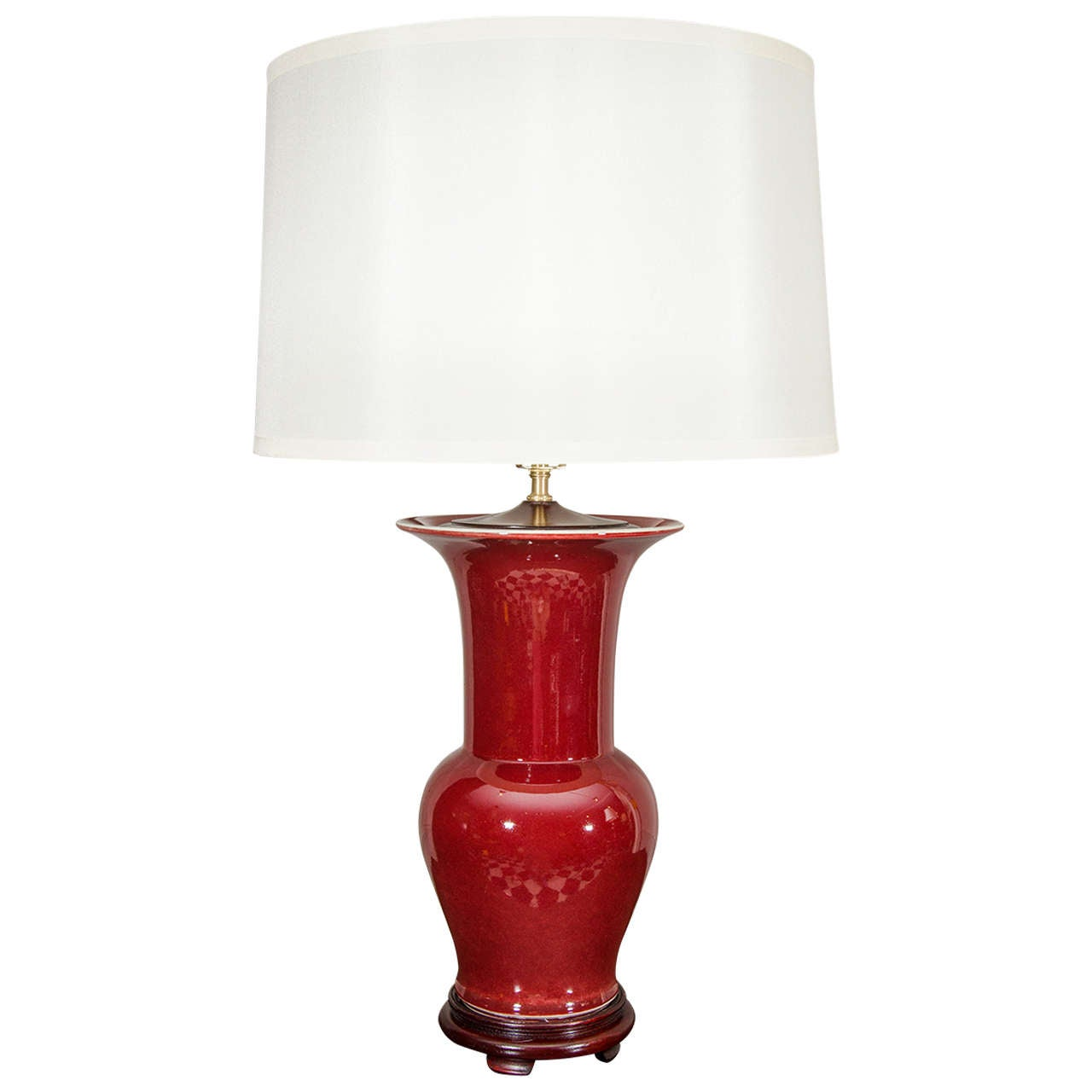 Single Chinese Langyao Hong Oxblood Red Porcelain Fishtail Vase, Wired as a Lamp